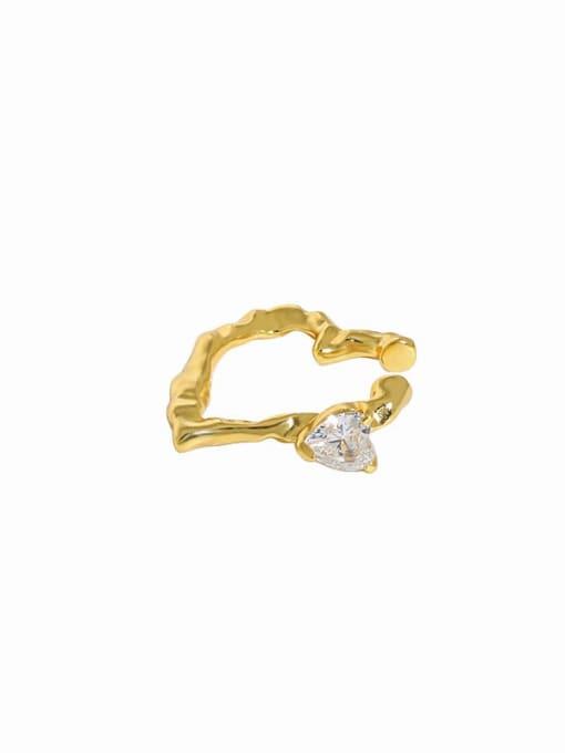 Gold [single] 925 Sterling Silver Cubic Zirconia Heart Minimalist Single Earring